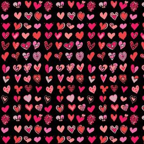 Lots of hand drawn hearts