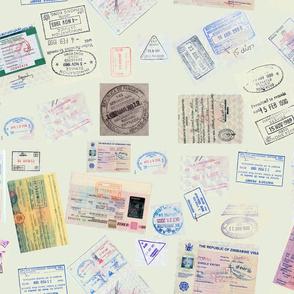 Stamps- passport -green