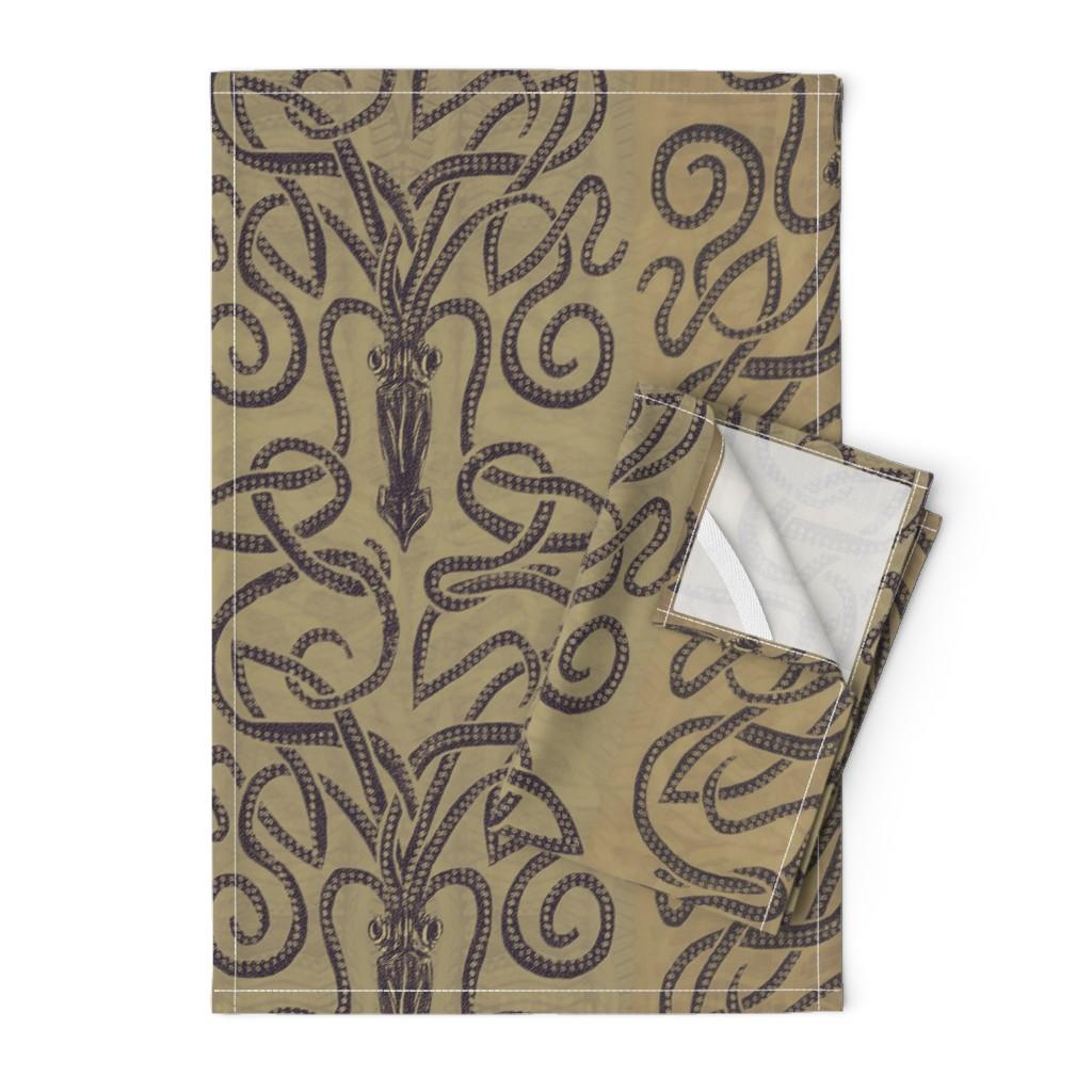 Orpington Tea Towels featuring Sandy brown squid swirls by wren_leyland