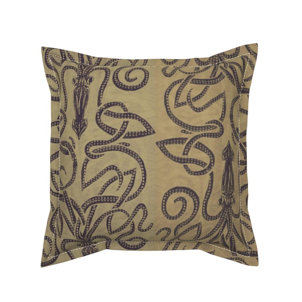 Serama Throw Pillow featuring Sandy brown squid swirls by wren_leyland
