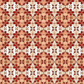 Tile Flowers Diamonds Orange