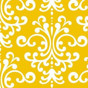 damask lg mustard yellow