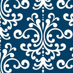 damask lg navy blue