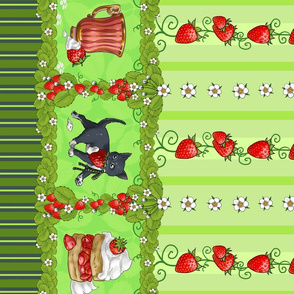 Kitten Tea Party, Lolita Strawberry Thief in Green