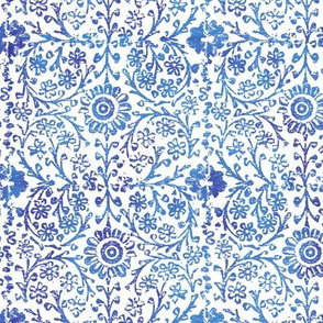 Indian Woodblock in Sapphire