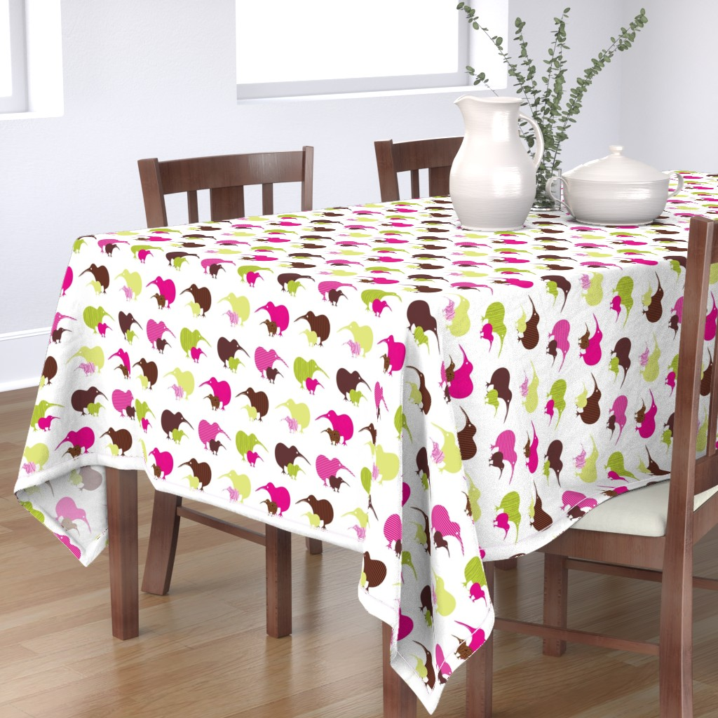 Bantam Rectangular Tablecloth featuring Kiwi mama and baby-ed by malien00