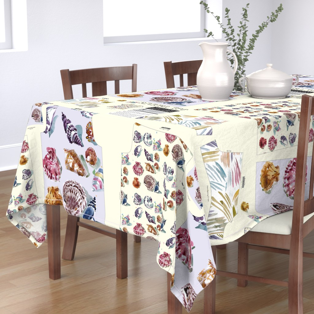 Bantam Rectangular Tablecloth featuring cestlaviv shell print on Riviera TEE pattern by @vivsfabulousmess