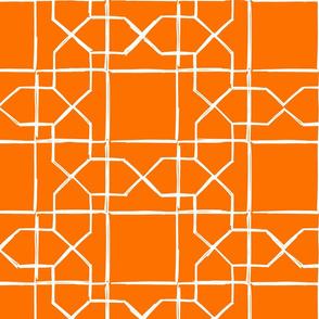 ALHAMBRA TRELLIS - white on classic orange