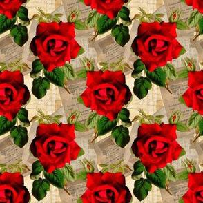 Red Rose on vintage ephemera