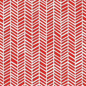 Herringbone  Poppy Red