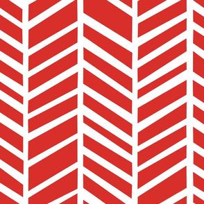 Herringbone  Poppy Red