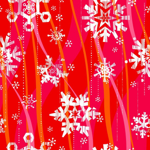 Grunge Snowflakes - Pink