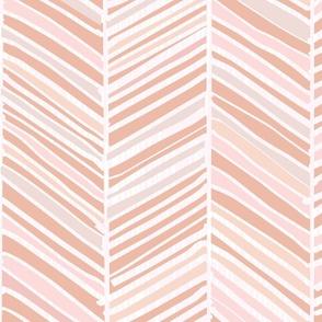 Herringbone Hues of Pastel M+M Peachy Pink by Friztin