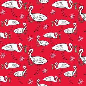 Christmas Cranes (Christmas red)