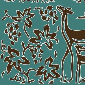Art & Crafts deer & grapes - vector large - brown-30 on minagreen - white-lines-batik