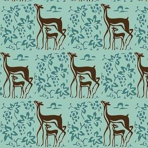 Vector deer & grapes - bluegreen & brown-30 on seafoam green-157