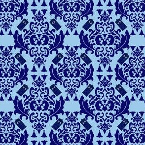 Police Box Damask in Blue- Small scale