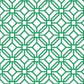 Octagon trellis - green on white