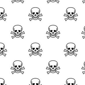 Skull and Cross Bones - White