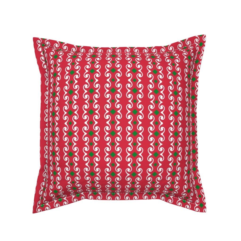 Serama Throw Pillow featuring Swirly Stripes with Diamonds by fireflower