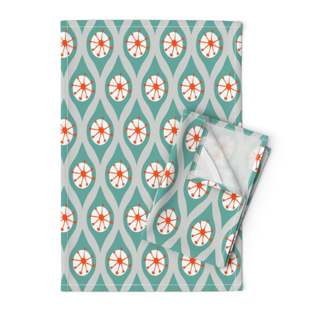 Orpington Tea Towels featuring Modern Turquoise and Orange on Grey by emilyannstudio