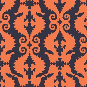 Hard-to-See Horse: coral & navy