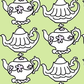 Teapots for Teatime Sweets (lime & lavender)