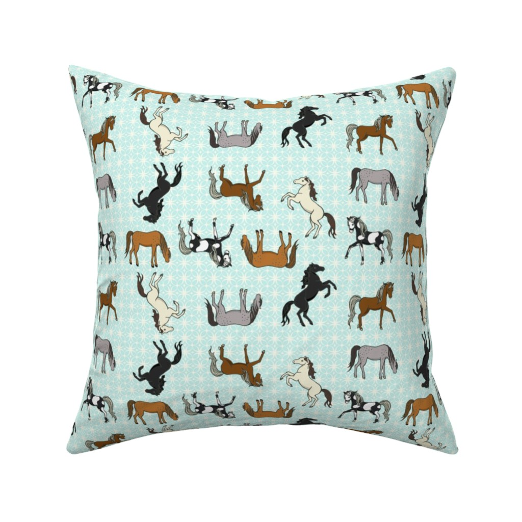 Catalan Throw Pillow featuring Ponies Please by mytinystar