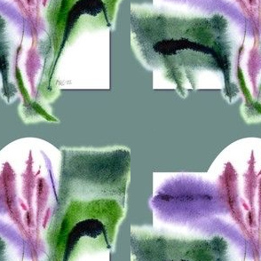 Iris, green bg, wall decal