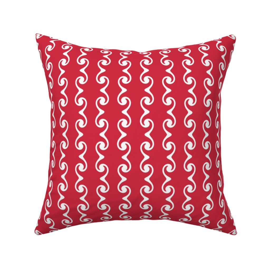 Catalan Throw Pillow featuring Swirly Stripes  -red & white by fireflower