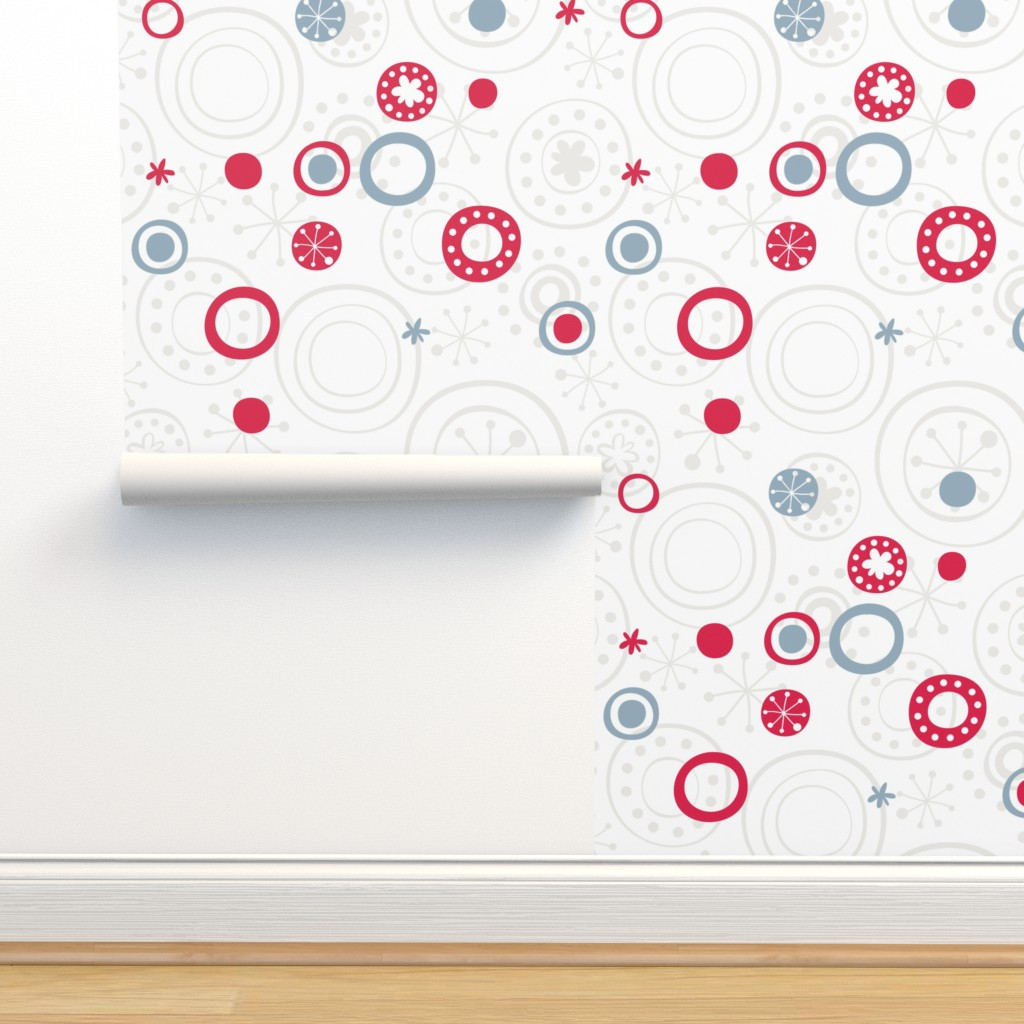Isobar Durable Wallpaper featuring sweet snowflakes retro pattern gray blue red by panimoni