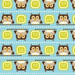 Owl Town - Whimsical Birds Aqua Blue