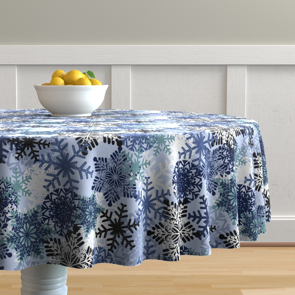 Malay Round Tablecloth featuring Snowflake by susanna_nousiainen