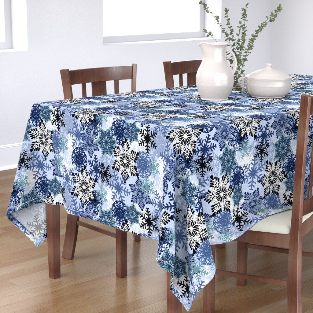 Bantam Rectangular Tablecloth featuring Snowflake by susanna_nousiainen