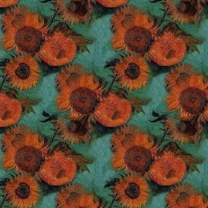 Van Gogh's Sunflowers  | Orange Flowers on Teal Green