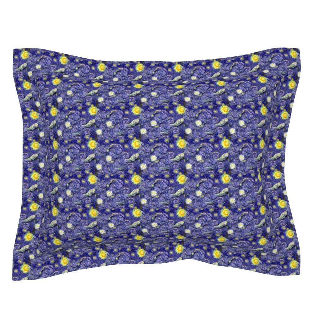 Sebright Pillow Sham featuring Van Gogh's Starry Night | Sky Only | Dark Blue Version by bohobear