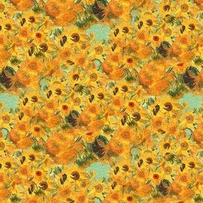Van Gogh's Sunflowers on Pistachio Green