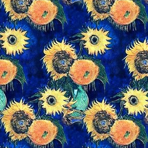 Van Gogh's Sunflowers on Royal Blue