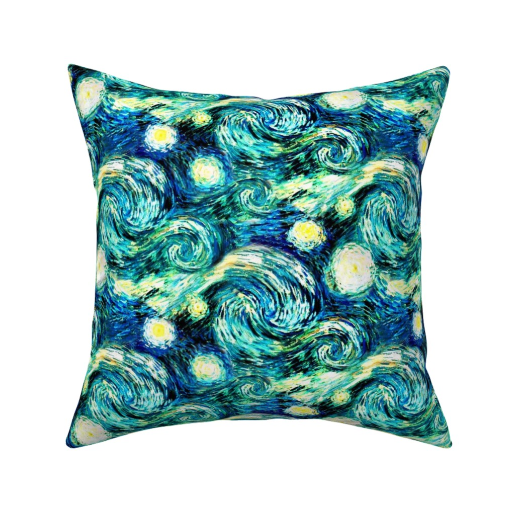 Catalan Throw Pillow featuring Starry Night Sky Swirly Stars from Van Gogh's Painting (sky only - large version) by bohobear
