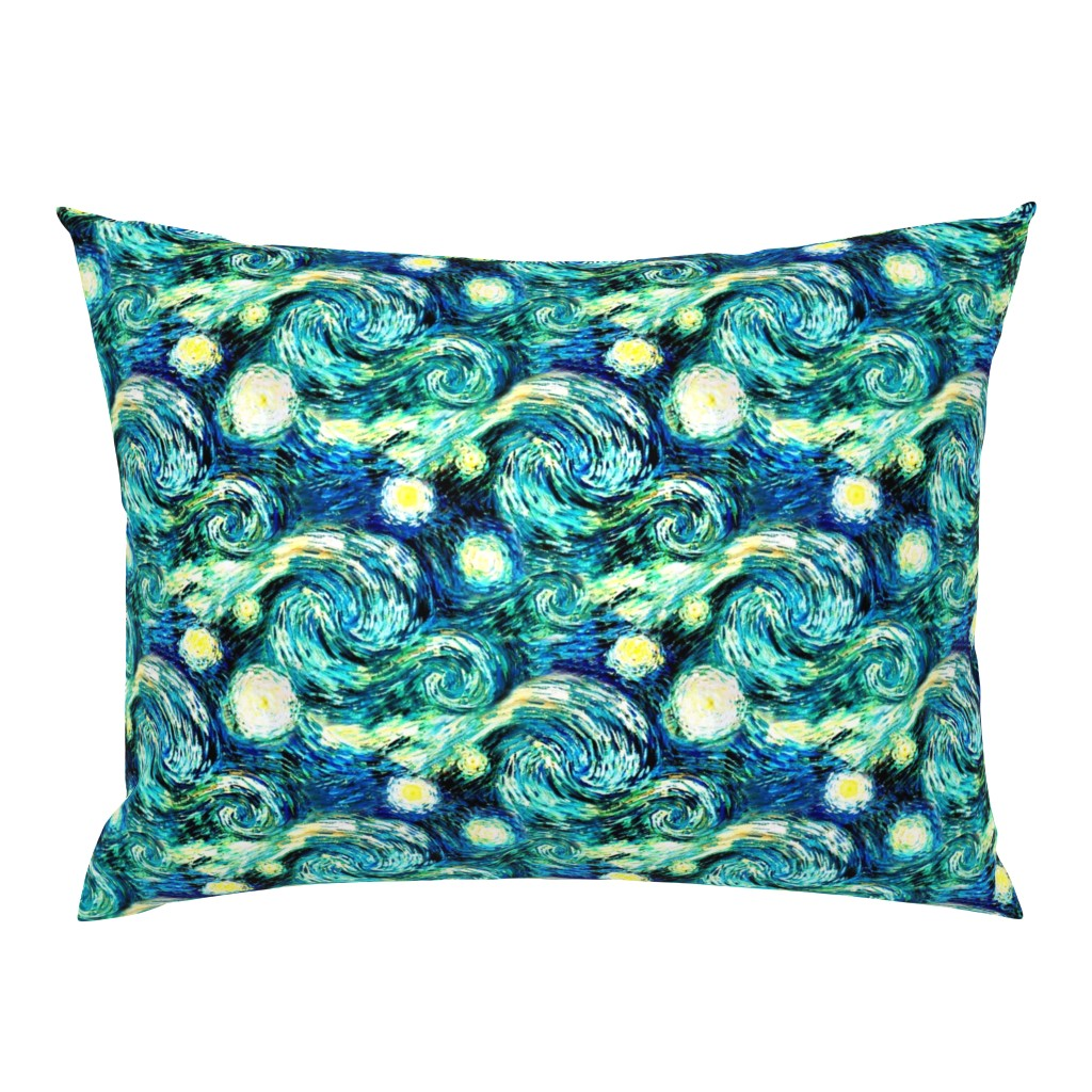 Campine Pillow Sham featuring Starry Night Sky Swirly Stars from Van Gogh's Painting (sky only - large version) by bohobear