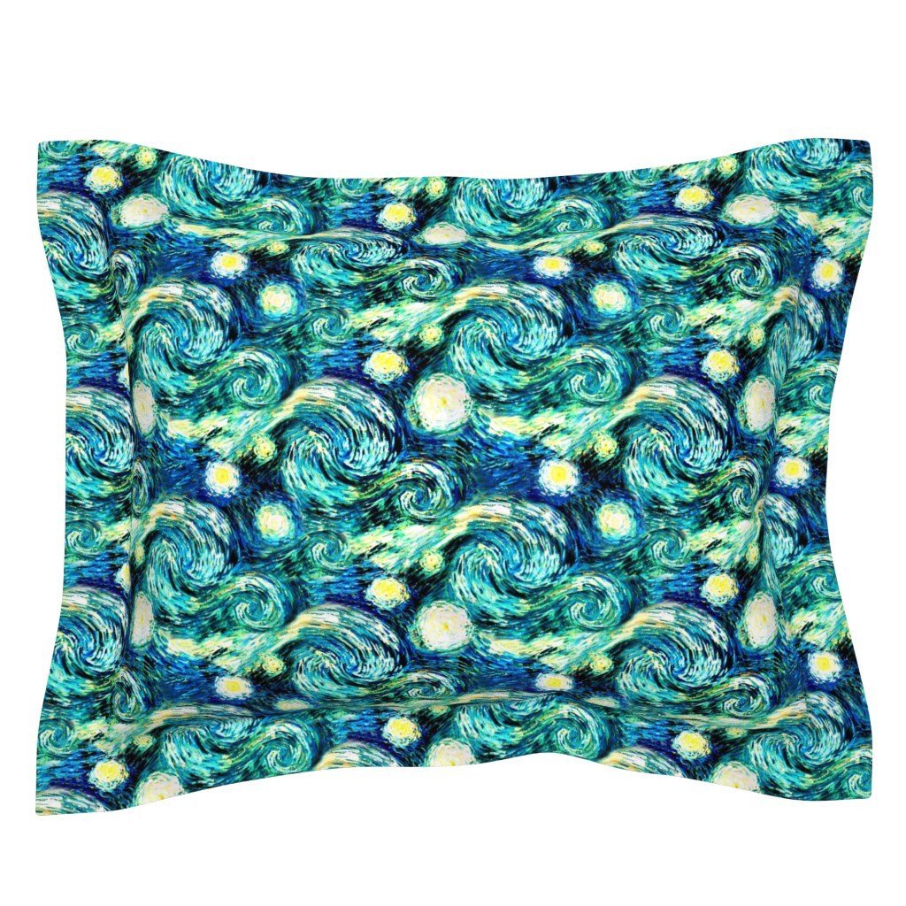 Sebright Pillow Sham featuring Starry Night Sky Swirly Stars from Van Gogh's Painting (sky only - large version) by bohobear