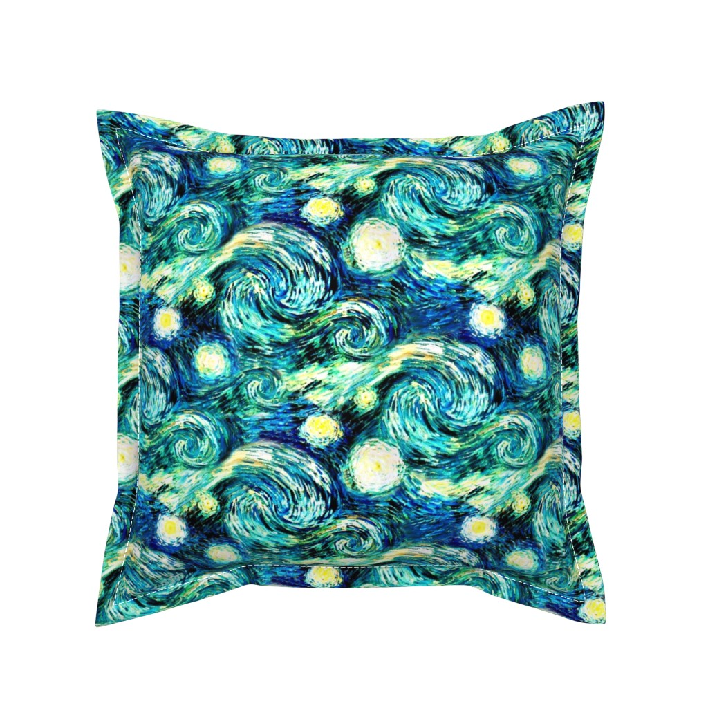 Serama Throw Pillow featuring Starry Night Sky Swirly Stars from Van Gogh's Painting (sky only - large version) by bohobear