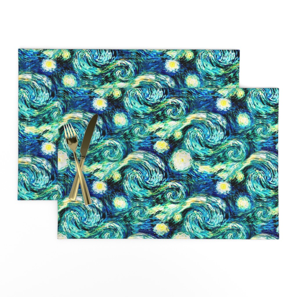 Lamona Cloth Placemats featuring Starry Night Sky Swirly Stars from Van Gogh's Painting (sky only - large version) by bohobear