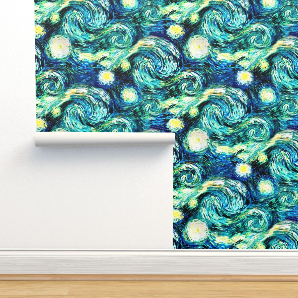Isobar Durable Wallpaper featuring Starry Night Sky Swirly Stars from Van Gogh's Painting (sky only - large version) by bohobear