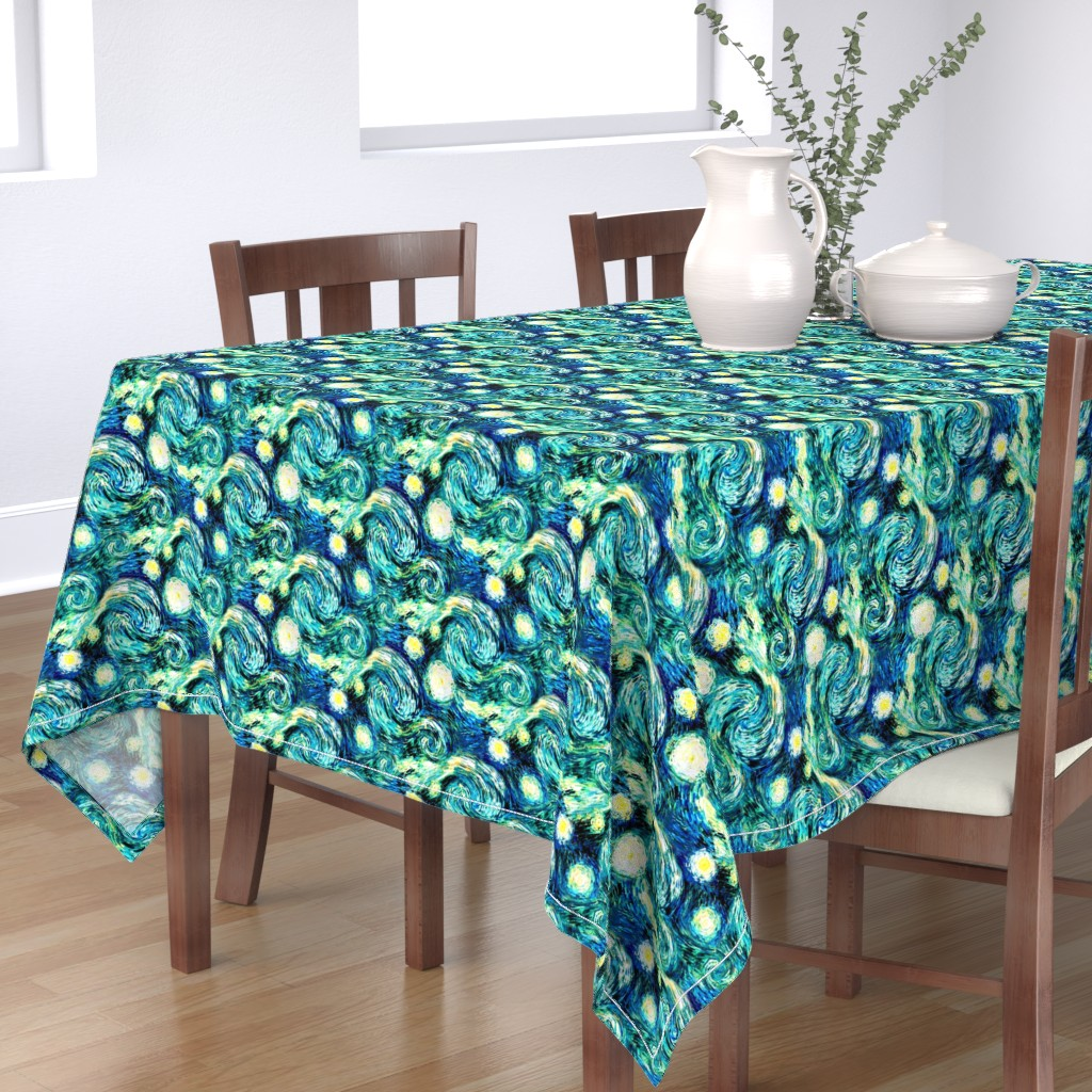 Bantam Rectangular Tablecloth featuring Starry Night Sky Swirly Stars from Van Gogh's Painting (sky only - large version) by bohobear
