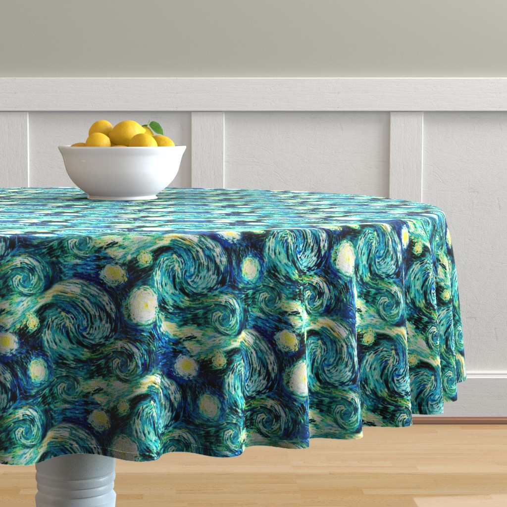 Malay Round Tablecloth featuring Starry Night Sky Swirly Stars from Van Gogh's Painting (sky only - large version) by bohobear