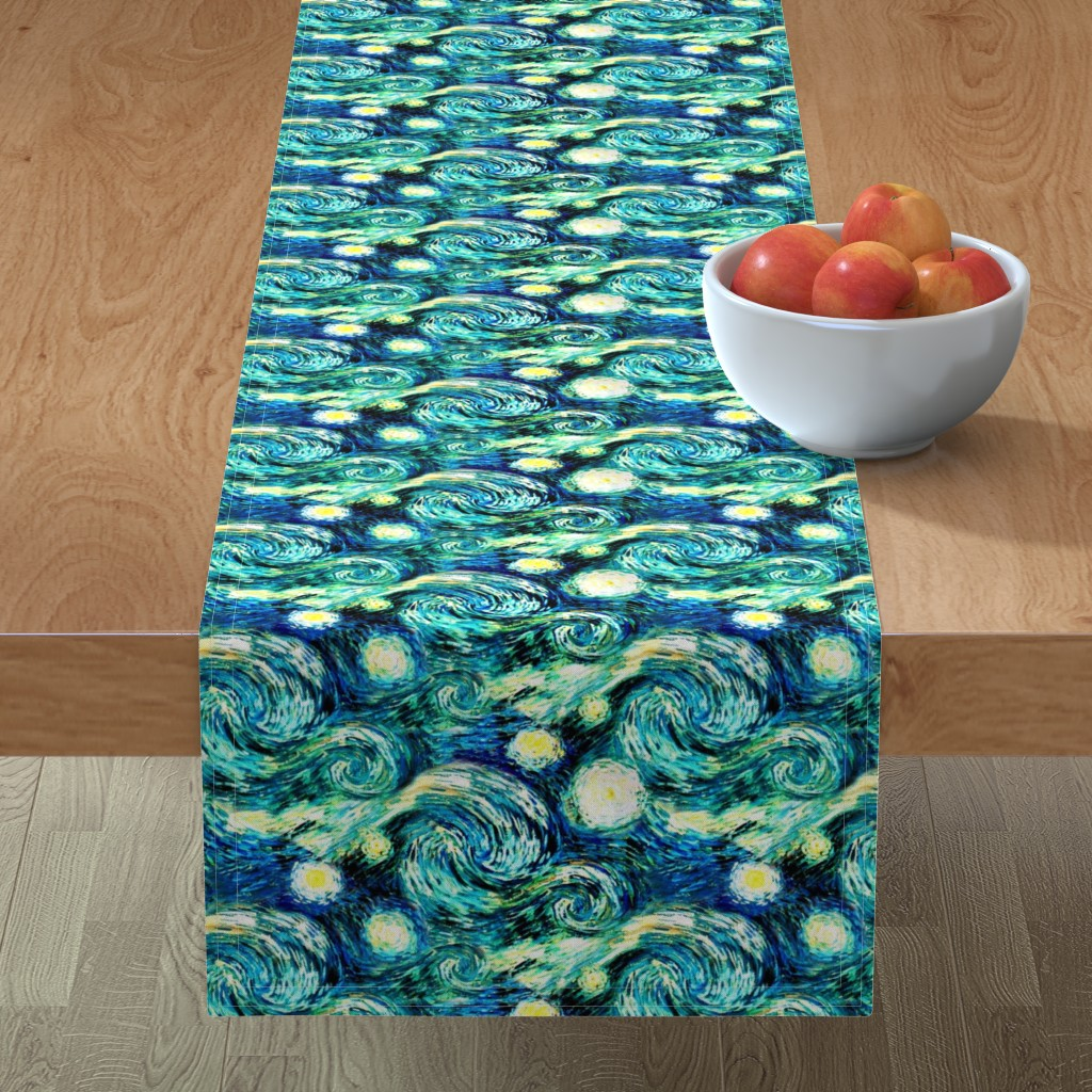 Minorca Table Runner featuring Starry Night Sky Swirly Stars from Van Gogh's Painting (sky only - large version) by bohobear