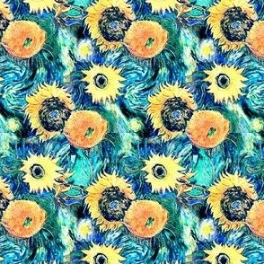 Van Gogh's Sunflowers on Starry Night Teal Background