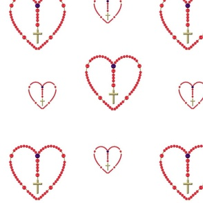 Heart-Shaped Rosary with Red and Blue Rose Beads