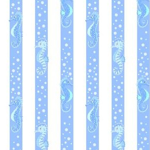 seahorse and bubbles stripes
